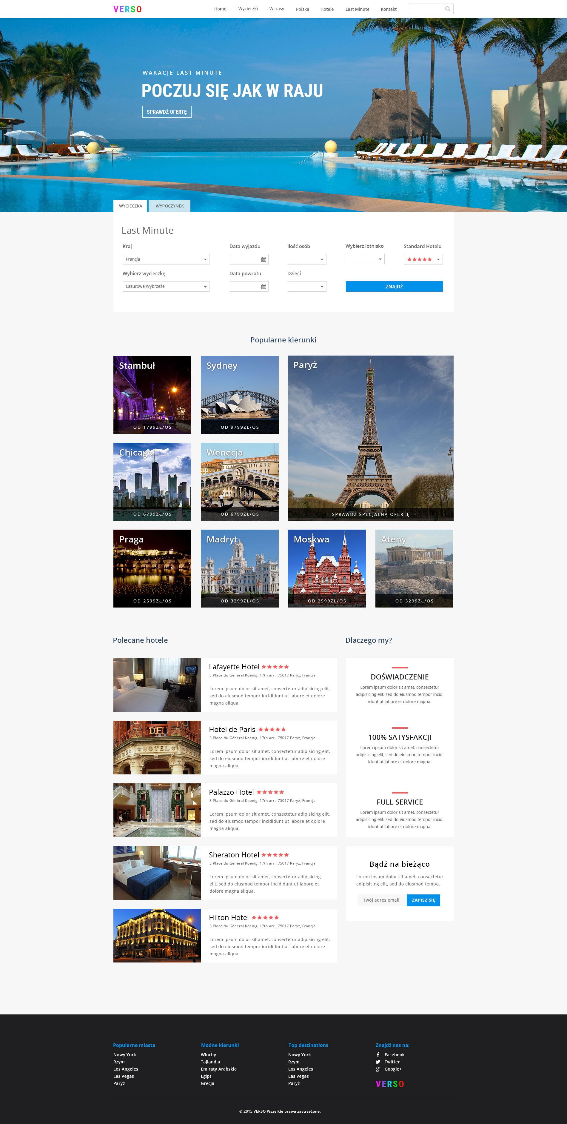 strona internetowa biura podróży - projekt www