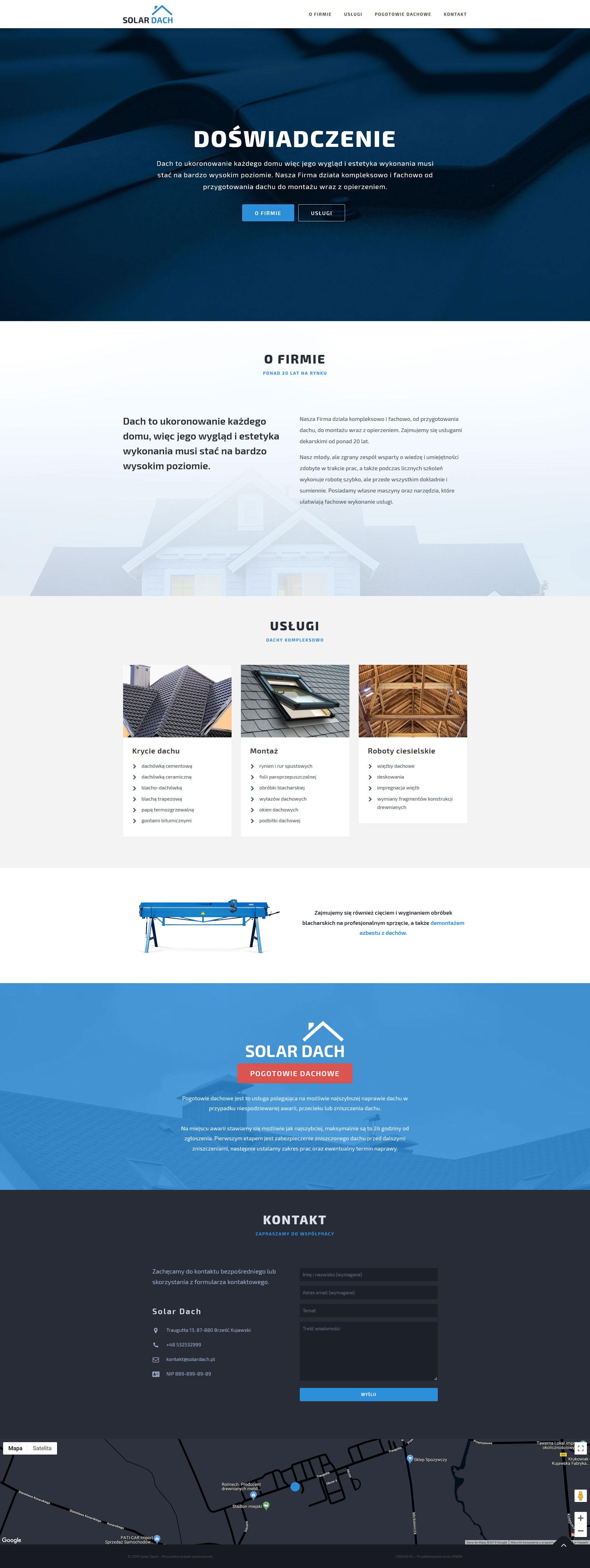 strona internetowa firmy dekarskiej - projekt