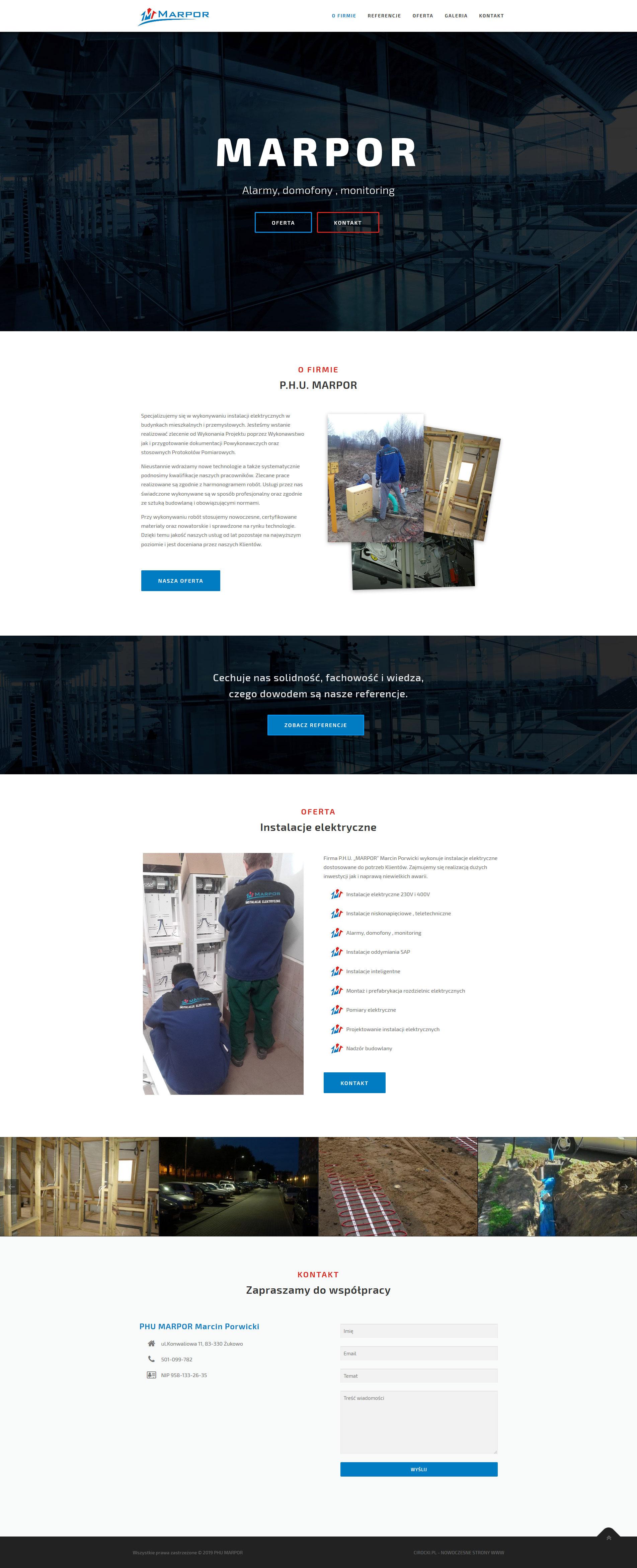 strona internetowa firmy wykonującej instalacje elektryczne - projekt strony