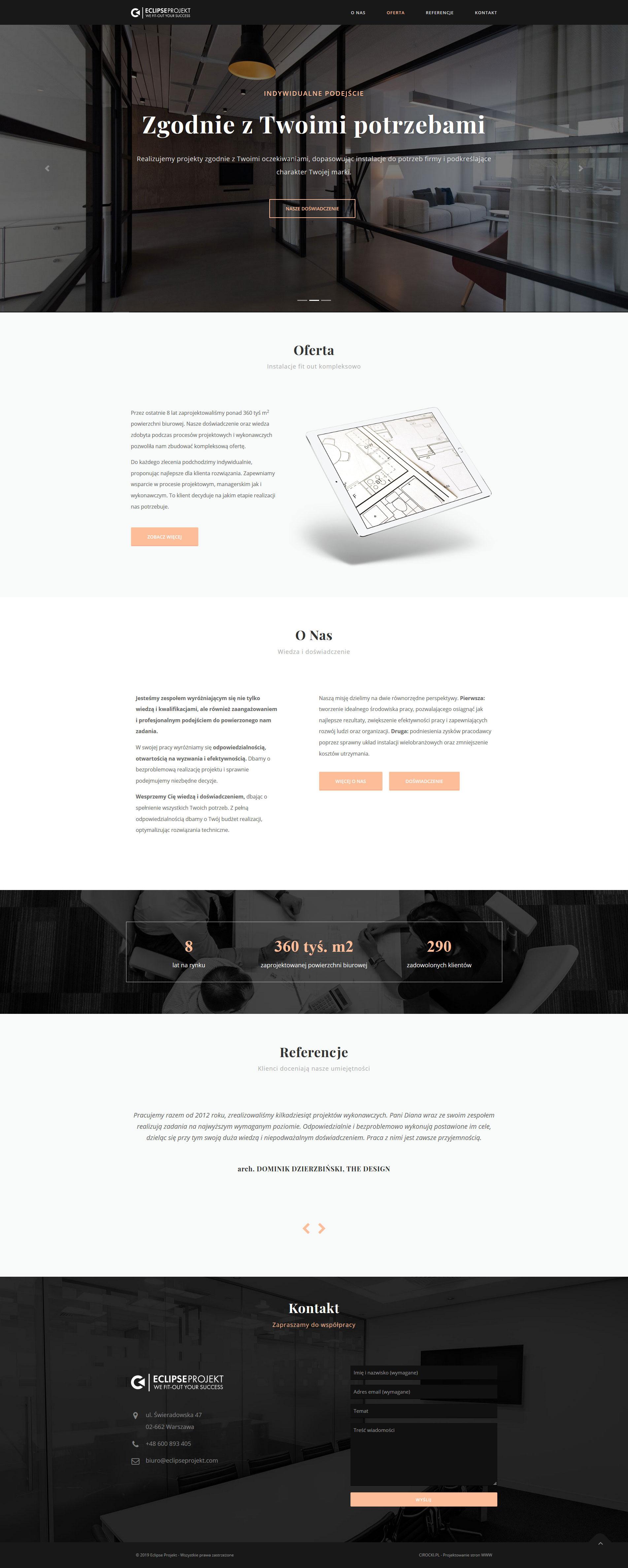 strona internetowa biura projektowego - projekt strony www