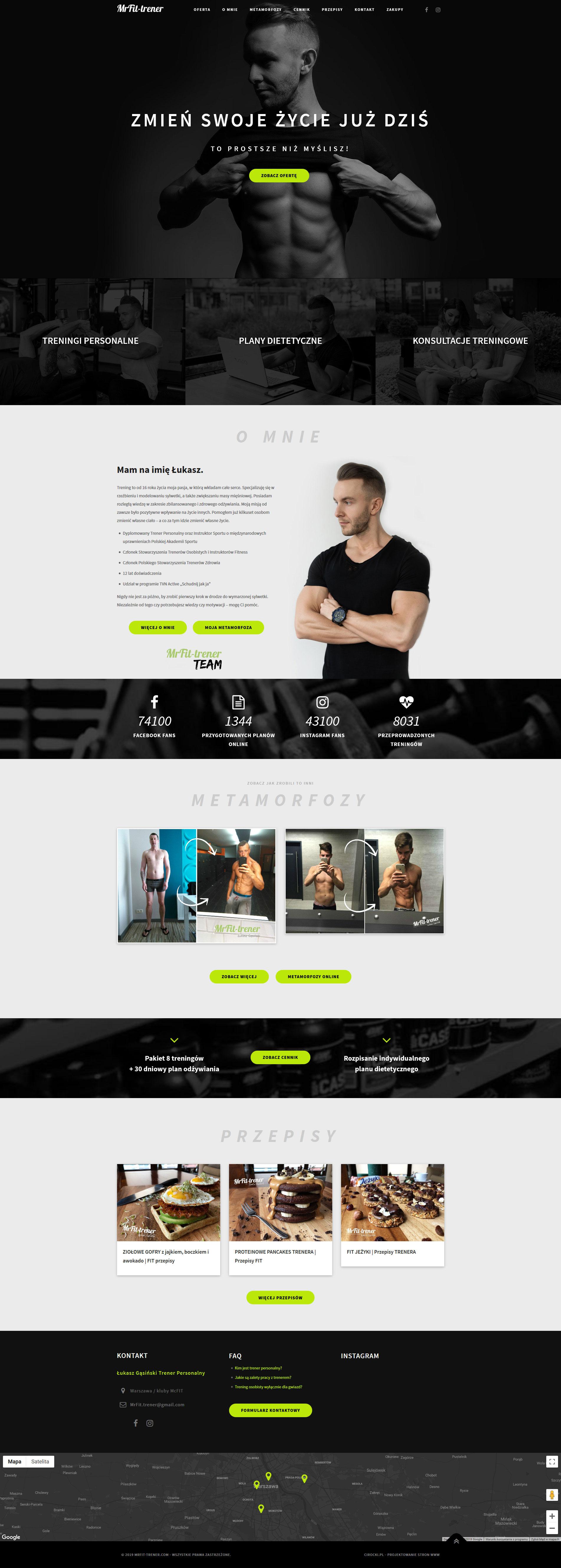 strona internetowa trenera Fitness z przepisami na blogu